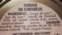 Terrine de chevreuil les Garibotes is - Ingrédients - fr