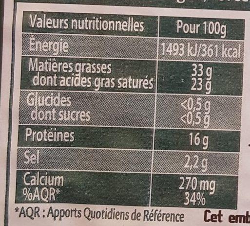 Saint Agur +15% gratuit - Informations nutritionnelles - fr