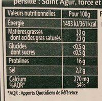 Saint Agur (Offre plaisir) - Informations nutritionnelles - fr