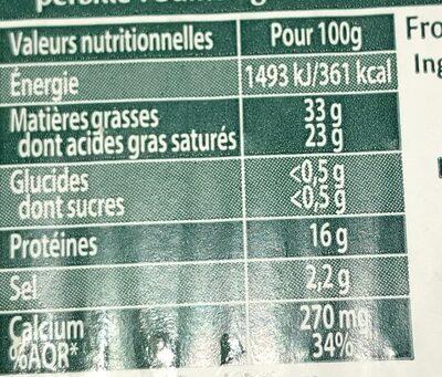 Saint Agur +30% offerts - Informations nutritionnelles - fr