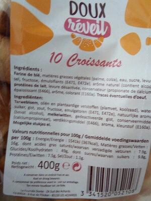 Doux réveil 10 Croissants - Voedigswaarden