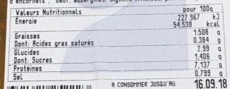 Calmars Farcis Sauce USA - Informations nutritionnelles