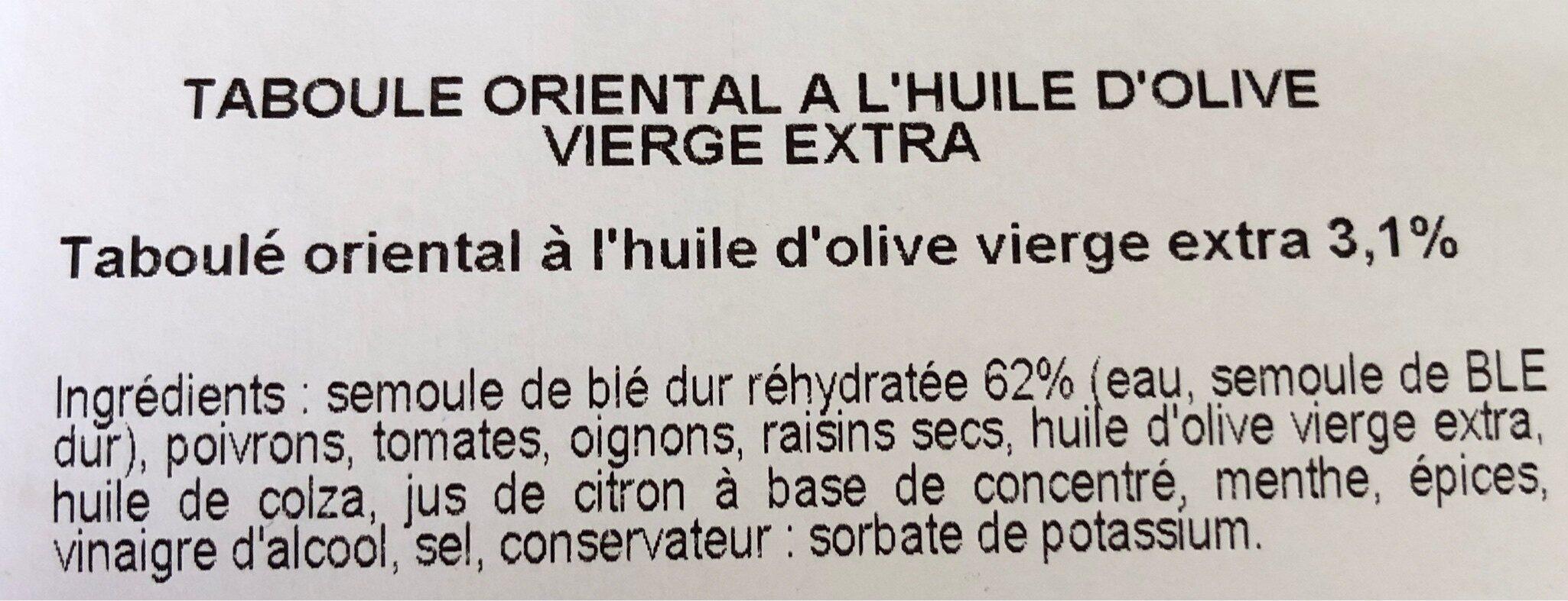 Taboule oriental a l'huile d'olive vierge extra - Ingrediënten - fr