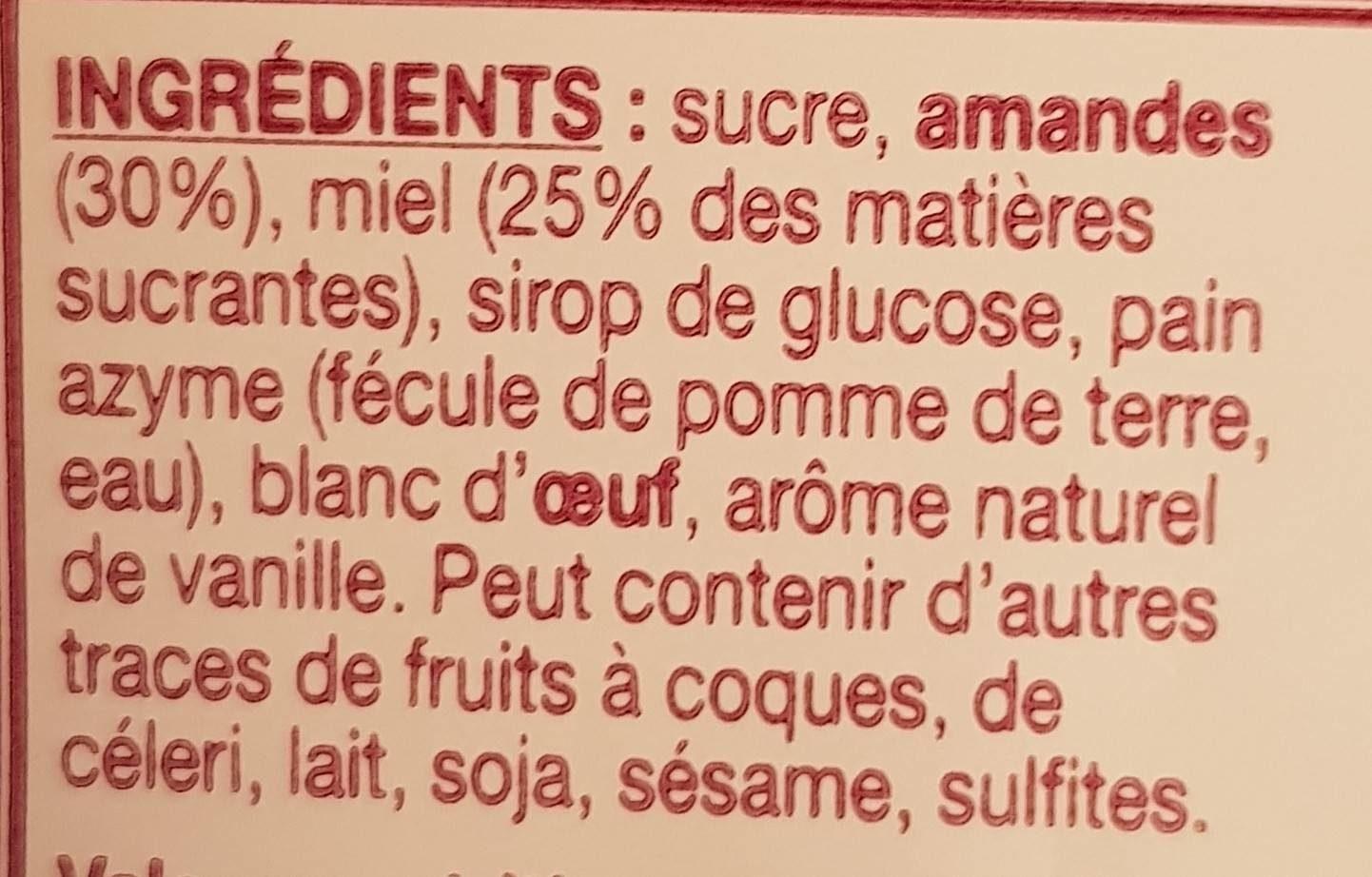 Nougat tendre de Montélimard - Ingredients