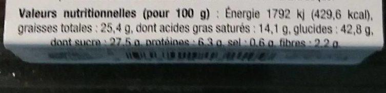 Gâteau de Bretagne au Chocolat - Informations nutritionnelles