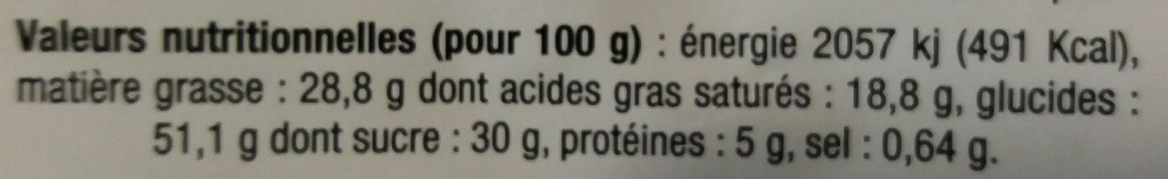 12 Mini Gâteaux Bretons aux Pépites de Chocolat - Informations nutritionnelles