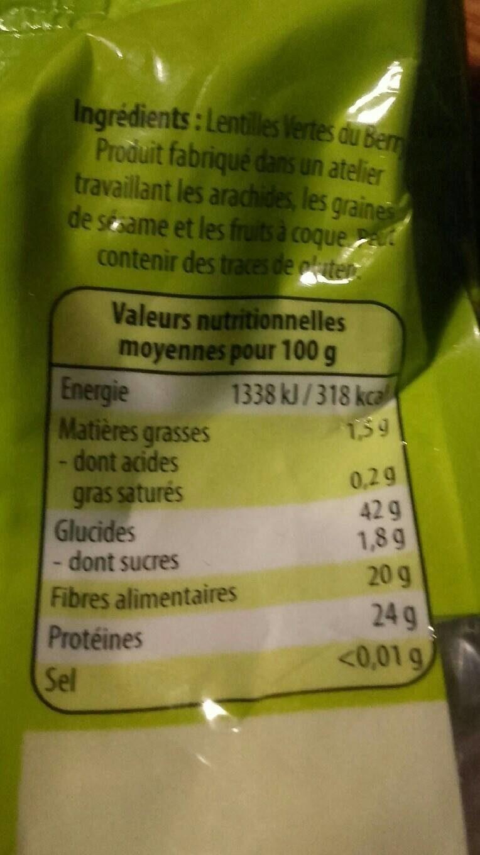 Lentilles vertes du Berry - Informations nutritionnelles