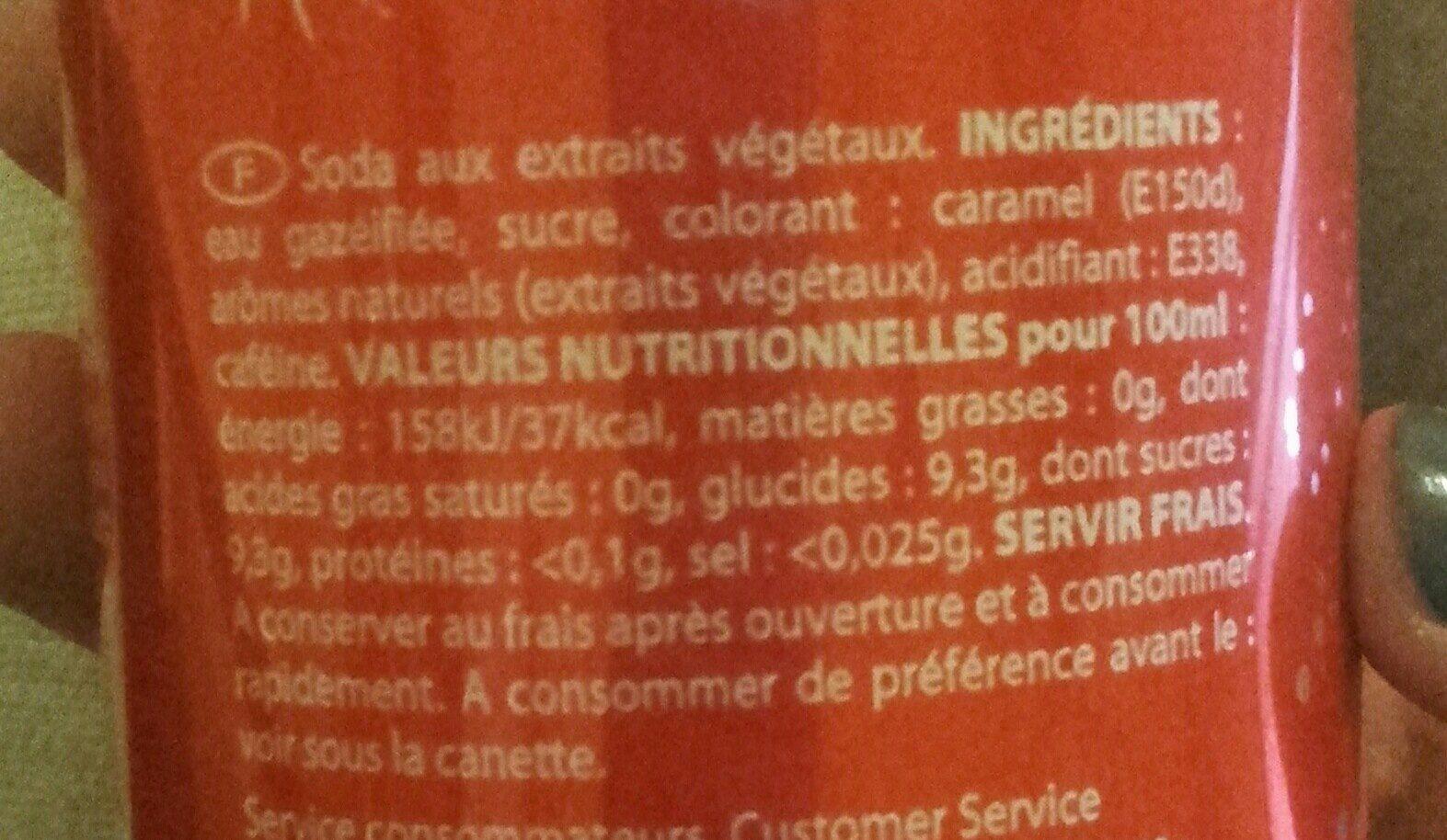 Cola - Ingredients - fr