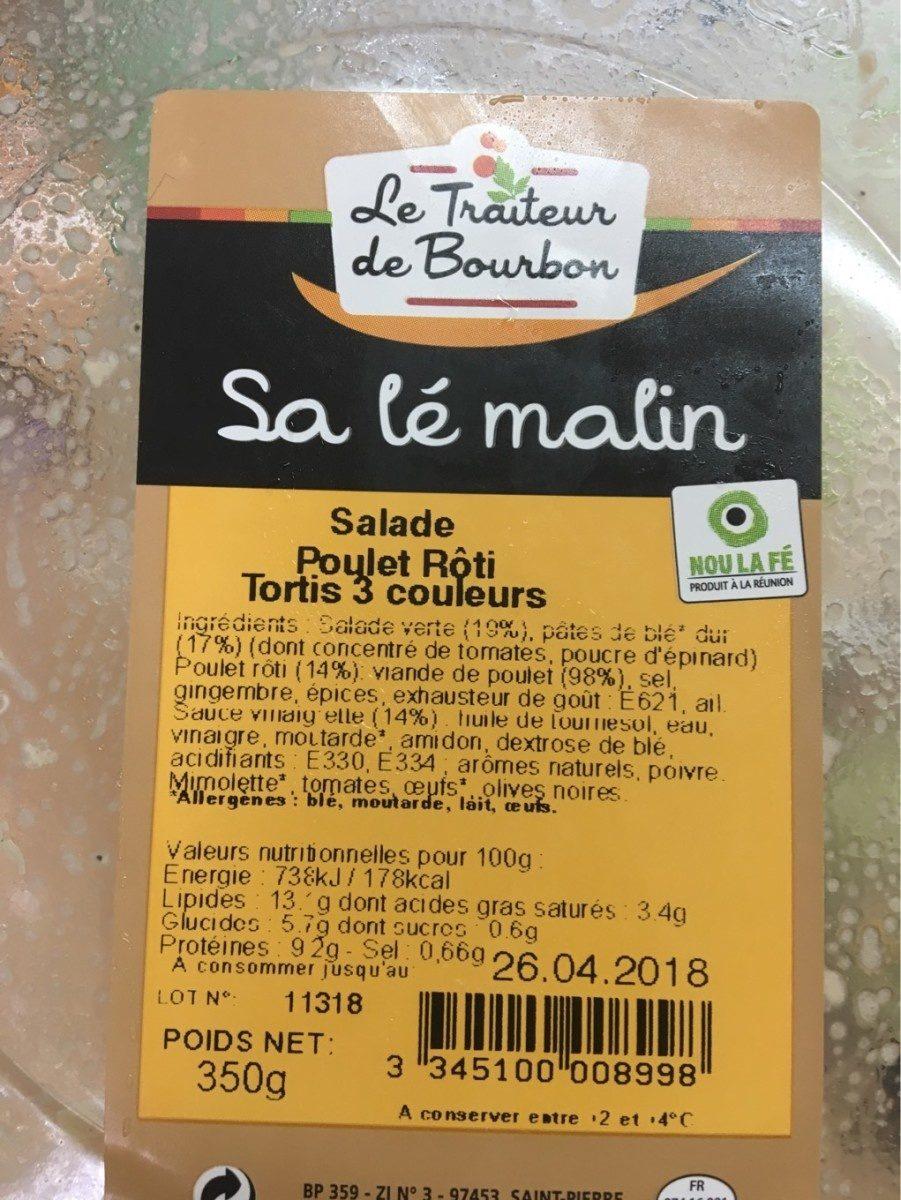 Salade poulet roti tortis 3 couleurs - Produit