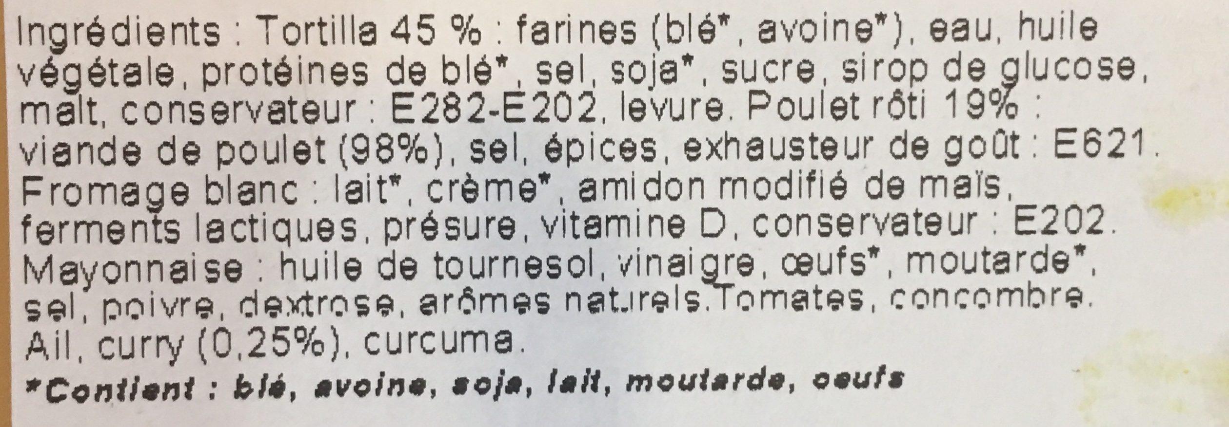 Wrap Poulet à l'indienne - Ingredients - fr