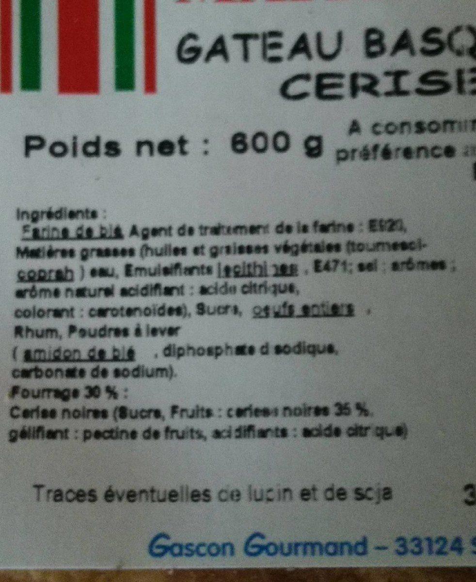 Gâteau basque cerise - Ingredients - fr