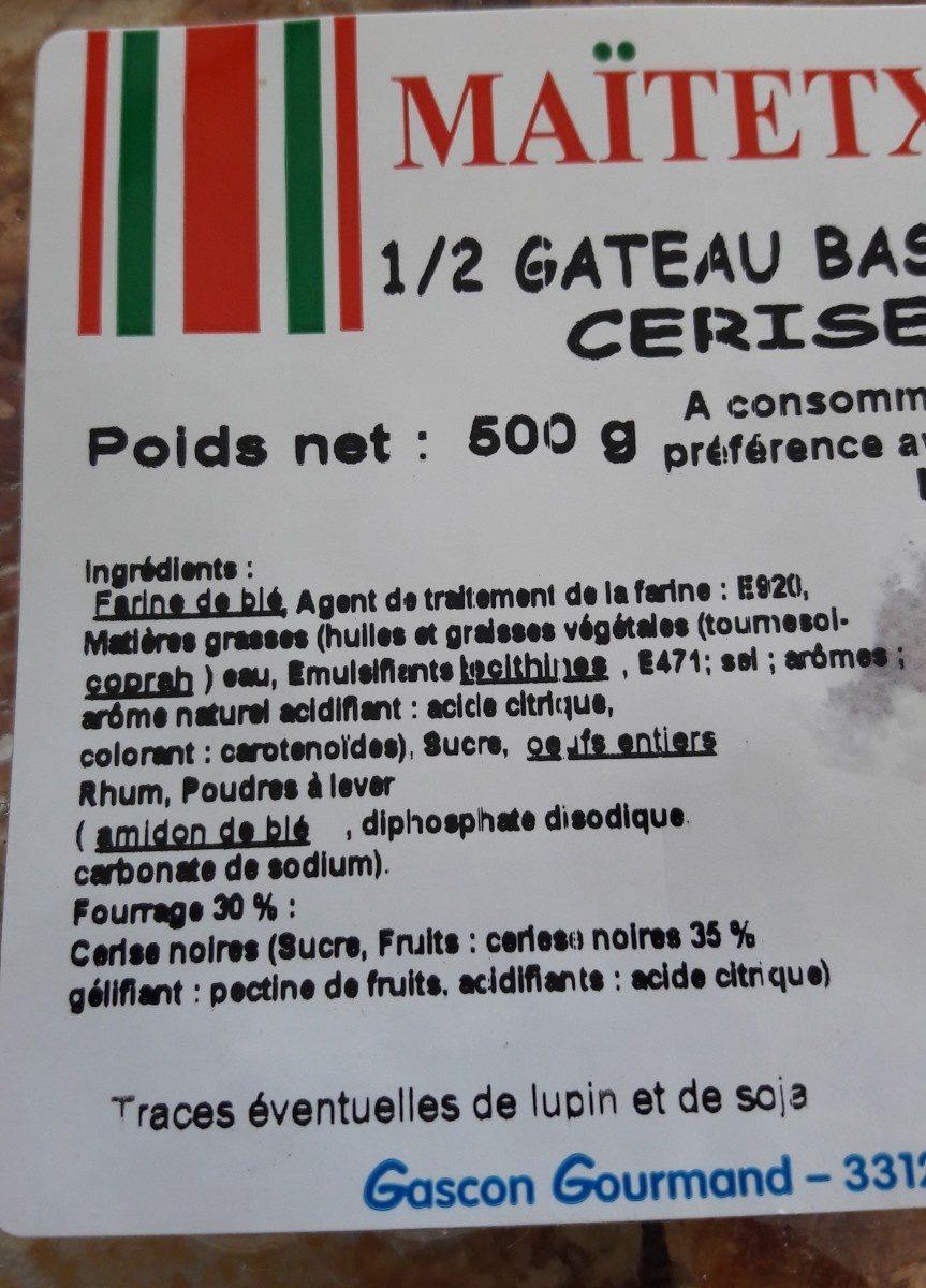 1/2 gâteau basque cerise - Ingredients - fr