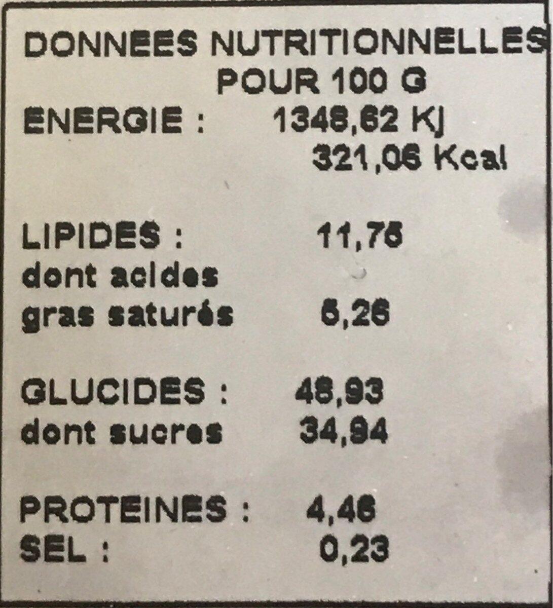 1/2 gâteau basque cerise - Nutrition facts - fr