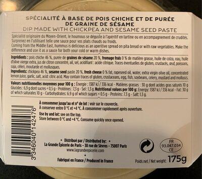 Le Houmous - Informations nutritionnelles - fr
