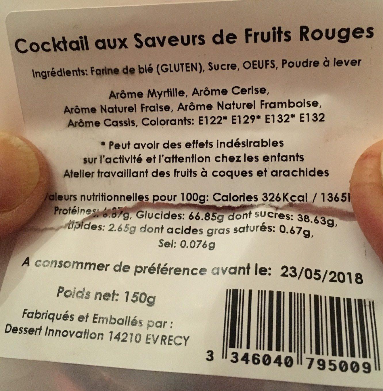 Cocktail Fruits Rouges - Voedingswaarden