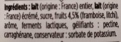 Le Yaourt Framboise Litchi - À boire - Ingredienti - fr
