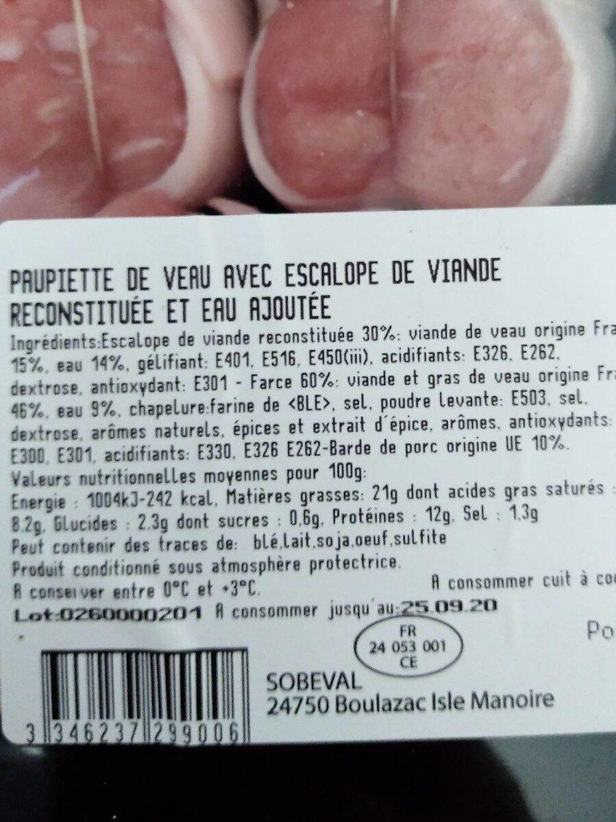 8 Paupiettes De Veau - Produit - fr