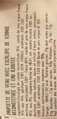 8 Paupiettes De Veau - Informations nutritionnelles - fr