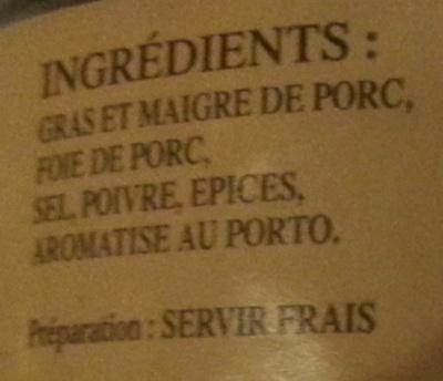 Petit Pâté du Cantal - Ingrediënten