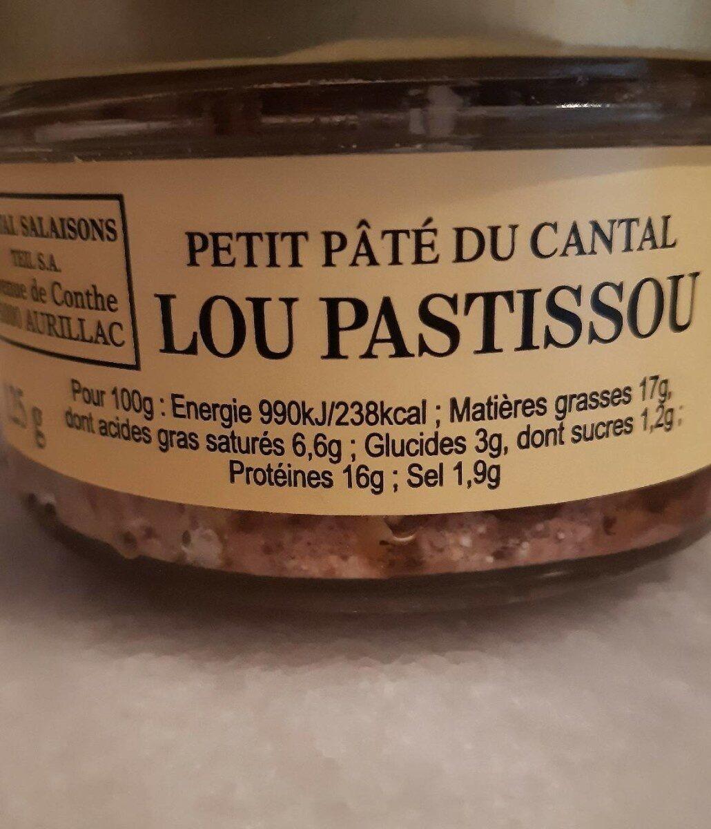 Petit pâté du Cantal - Lou PASTISSOU - Voedingswaarden - fr