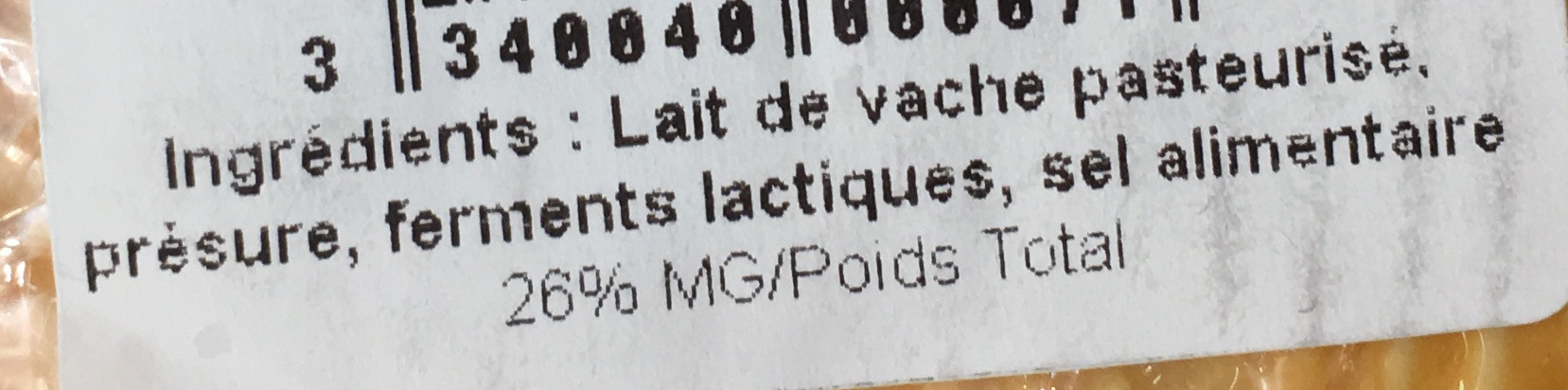 Coeur de Thierache (26% MG) - Ingrediënten