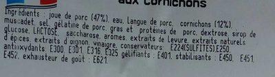 Joues de Porc aux Cornichons - Ingrédients