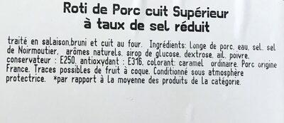 Brient, Roti de porc superieur, la barquette de 4 180 g - Ingrédients - fr