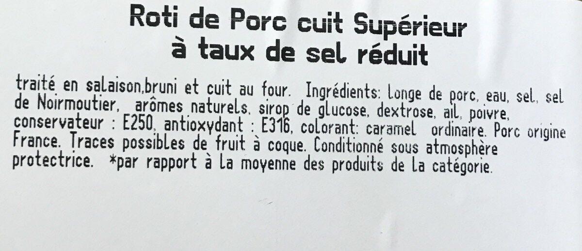 Brient, Roti de porc superieur, la barquette de 4 180 g - Ingrédients