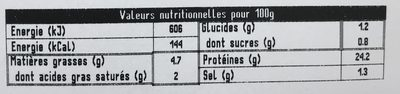 Brient, Roti de porc superieur, la barquette de 4 180 g - Informations nutritionnelles