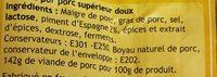 Chorizo Doux - Ingrediënten