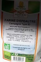 Farine d'épeautre campagne type 80 - Ingredients