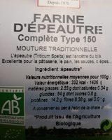 Farine d'épautre complète type 150 - Ingredients