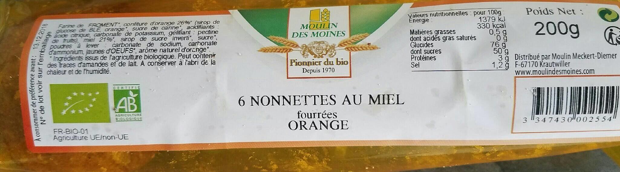 6 nonnettes aux miel fourrées ORANGE - Product