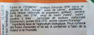 6 nonnettes aux miel fourrées ORANGE - Ingrédients - fr