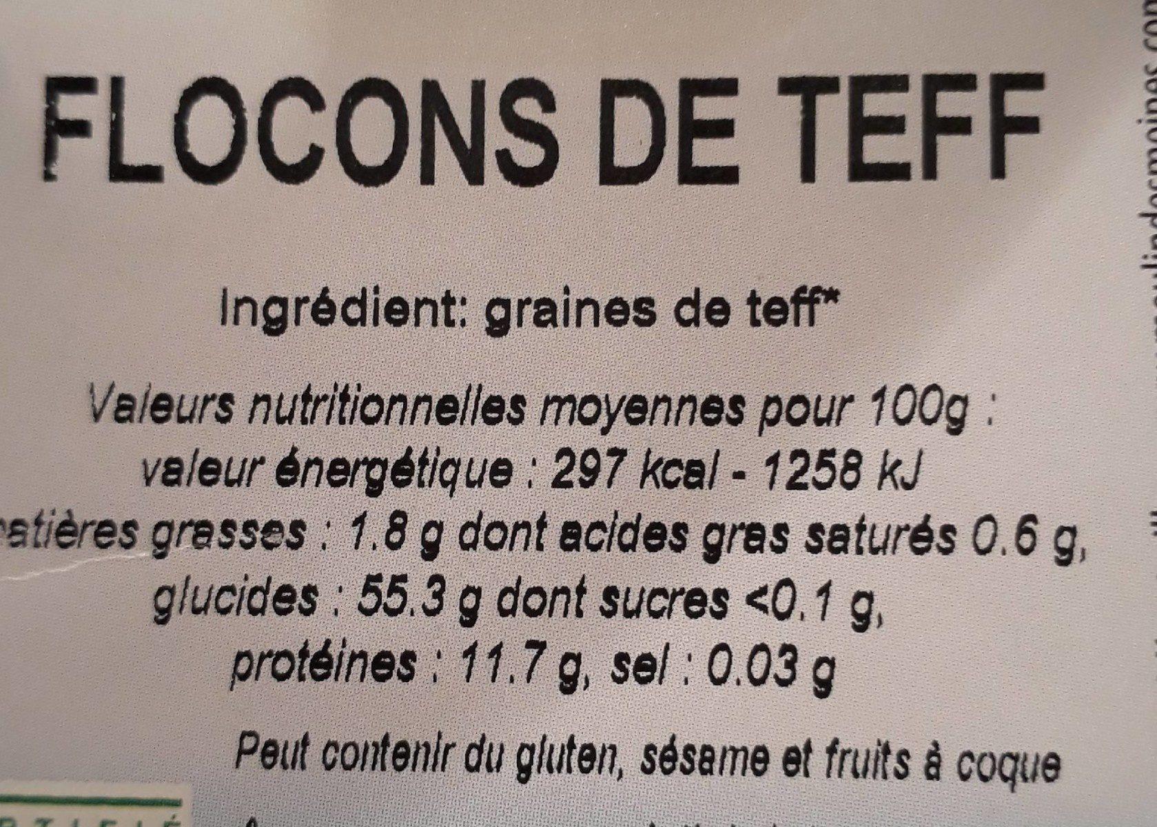 Flocons De Teff - Ingrédients - fr