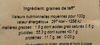 Flocons De Teff - Informations nutritionnelles - fr