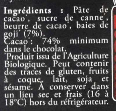 Chocolat noir aux baies de Goji - Ingrédients