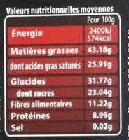 Chocolat noir aux baies de Goji - Informations nutritionnelles