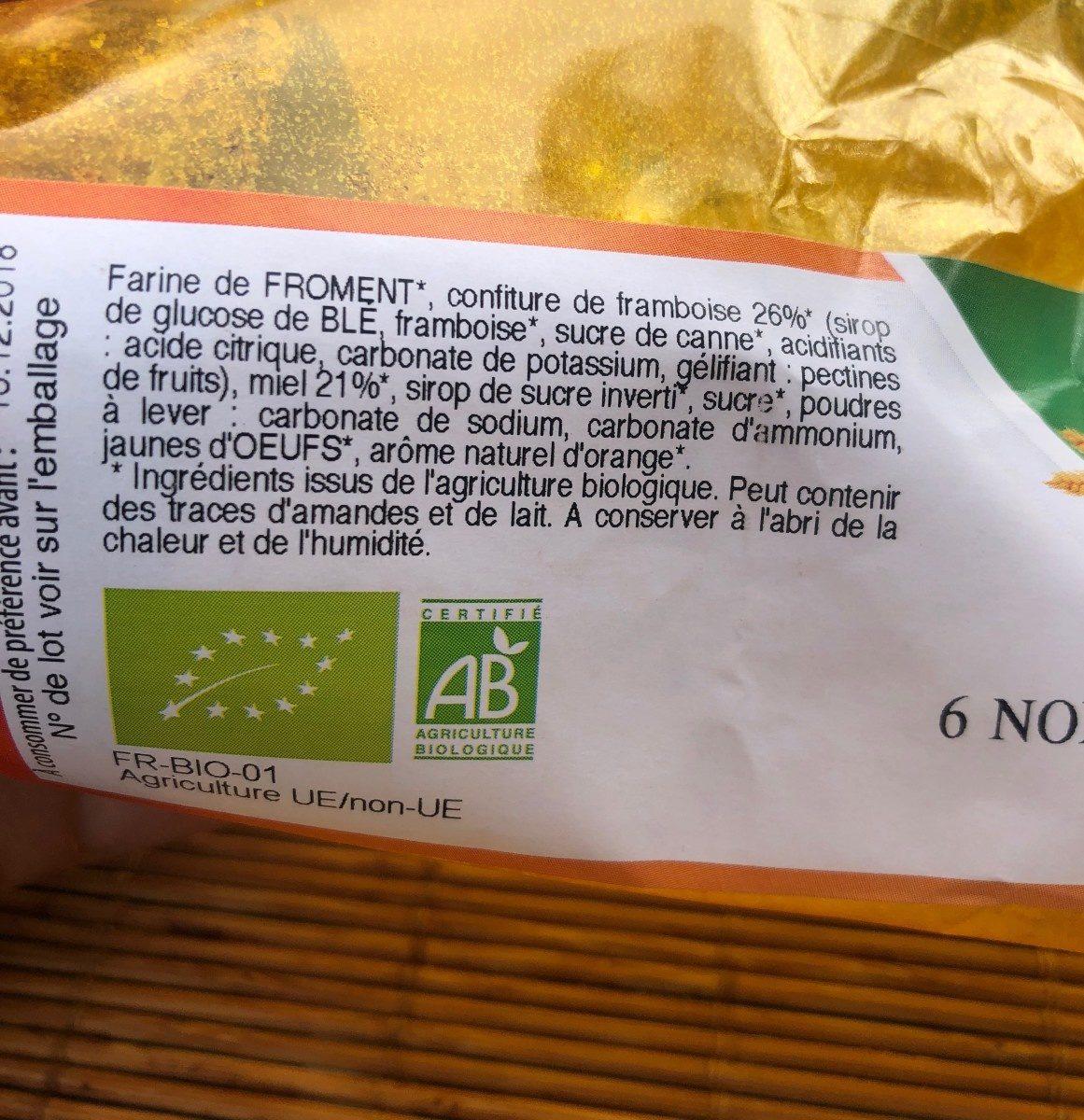 6 nonnettes au miel fourrées FRAMBOISE - Ingrédients