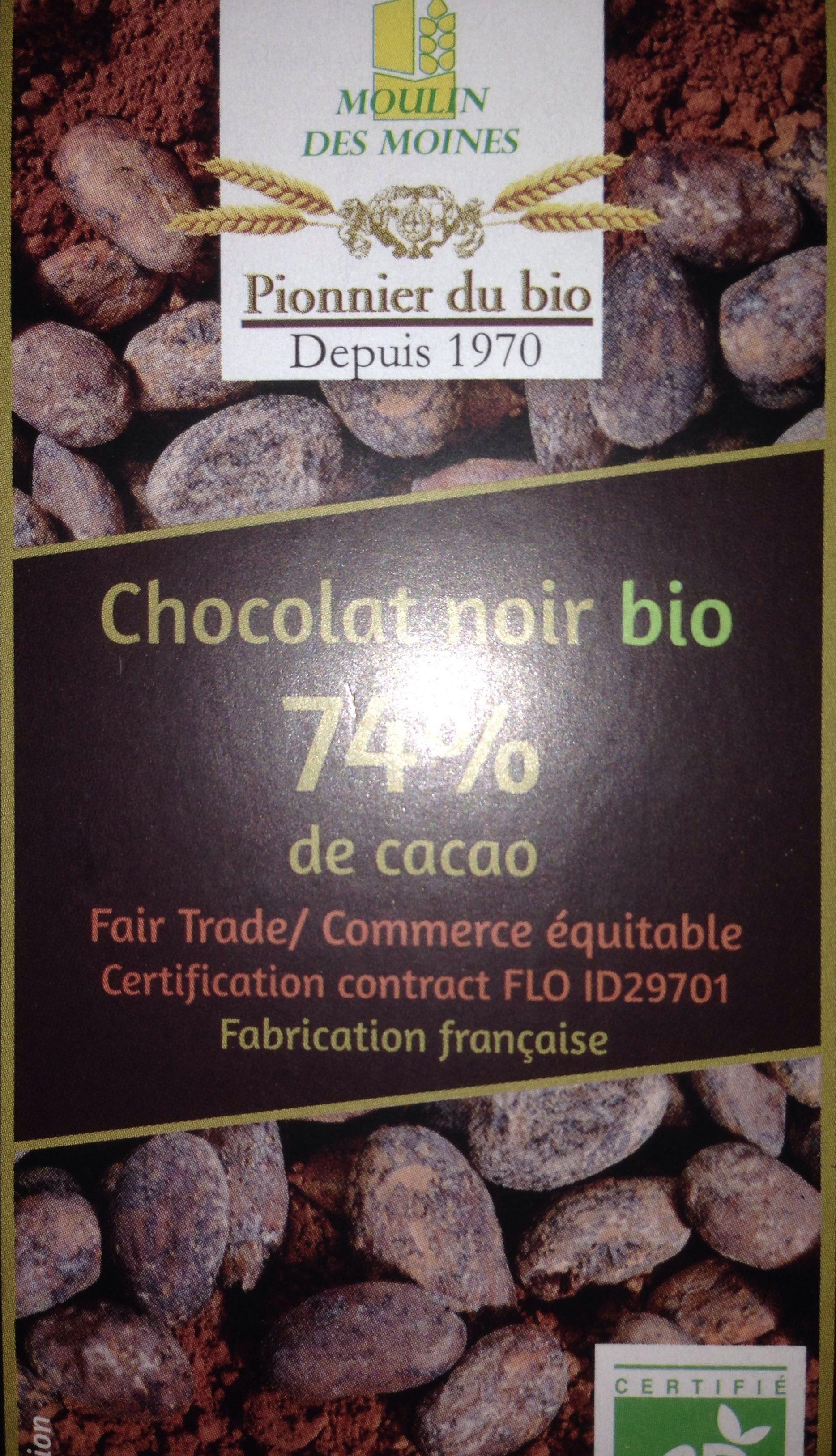 Chocolat noir bio 74% de cacao - Product - fr