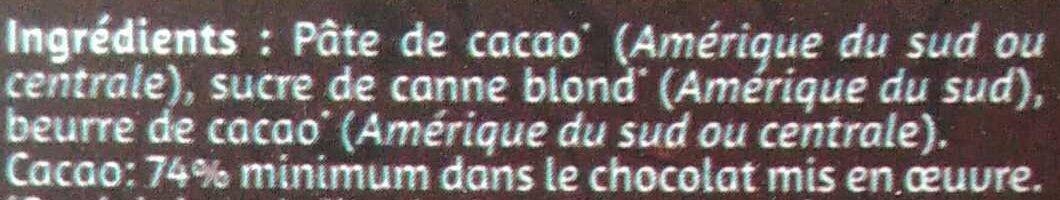 Chocolat noir bio 74% de cacao - Ingredients - fr