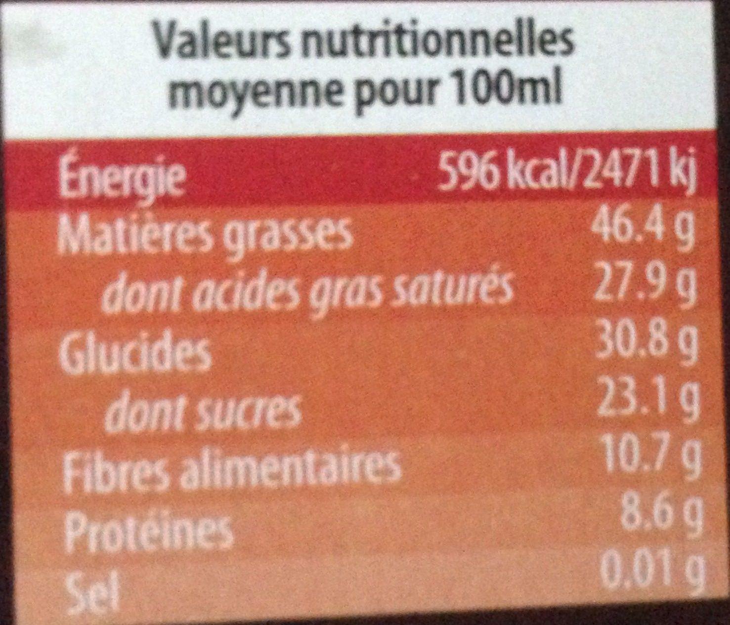 Chocolat noir bio 74% de cacao - Nutrition facts - fr