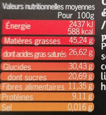 CHOCOLAT NOIR CAFE BIO EQUITABLE MAX HAVELLAR - Informations nutritionnelles - fr