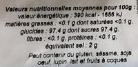 Sucre glace de canne - Nutrition facts