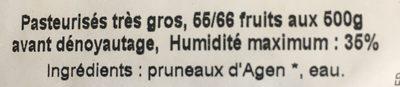 PRUNEAUX D'AGEN DENOYAUTES - Ingredients