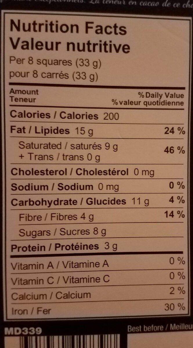 Chocolat noir 74% biologique - Nutrition facts - fr