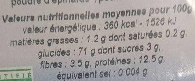 PENNE TRICOLORES - Informations nutritionnelles