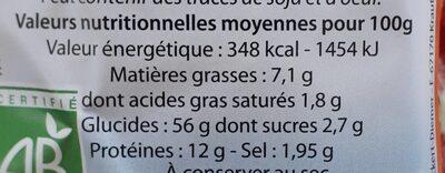 THALER D'EPEAUTRE AU FROMAGE - Valori nutrizionali - fr