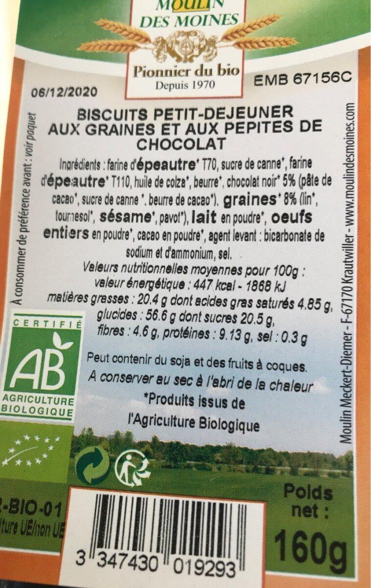 Biscuits petit dejeuner  aux graines et pepites de chocolat - Prodotto - fr