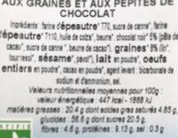Biscuits petit dejeuner  aux graines et pepites de chocolat - Valori nutrizionali - fr